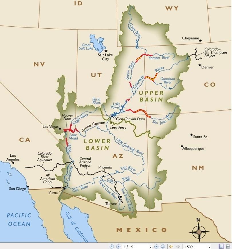 GCDAMP RAZU Fish Glen Canyon Dam AMP - Colorado river map world atlas