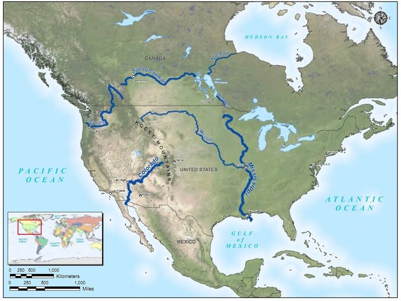 America Map Rivers America Map Rivers South America Map Rivers - Map of major rivers in the united states